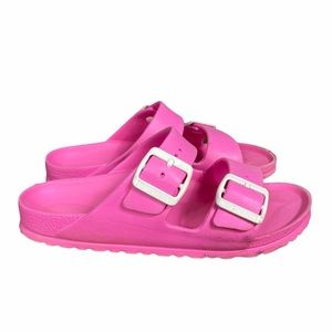 BIRKENSTOCK Pink Rubber Two Strap Sandals women's